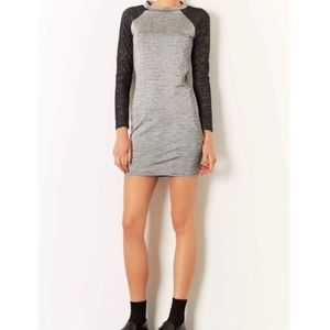 TOPSHOP SPACE DYE BODYCON RAGLAN SLEEVE DRESS.